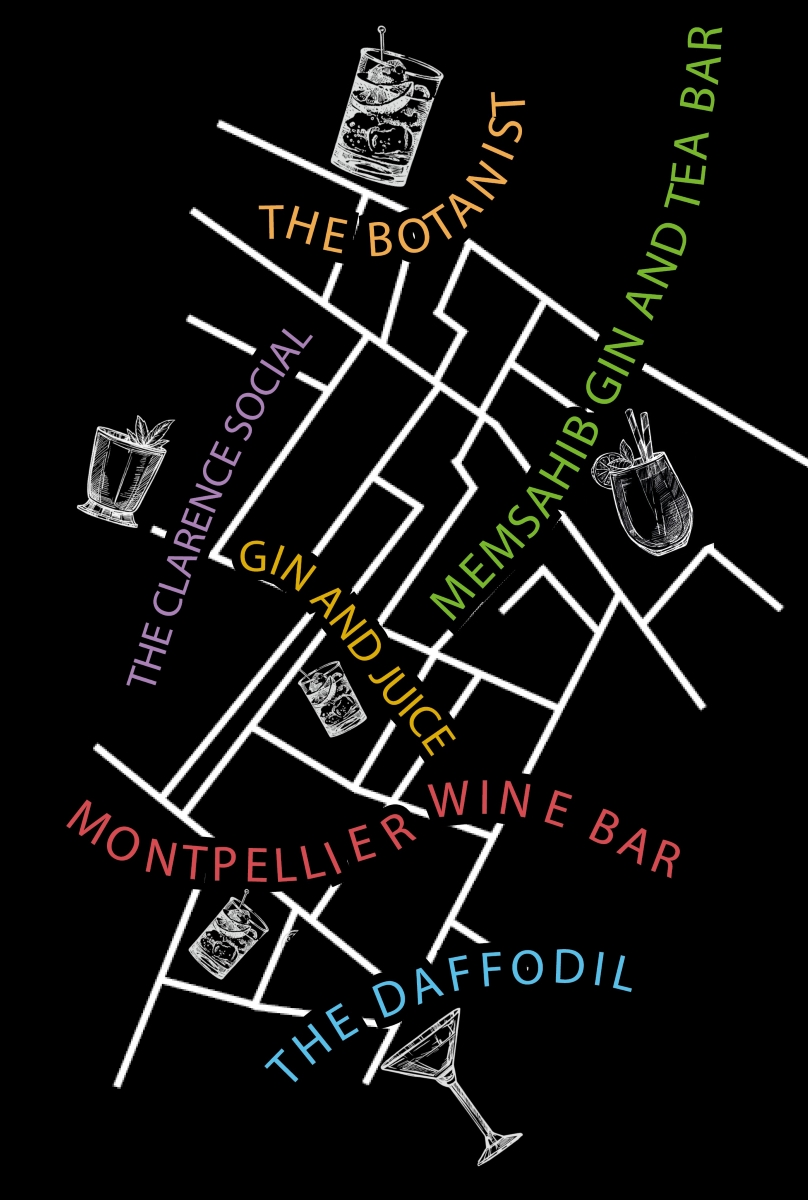 Map of the best cocktail bars in Cheltenham as recommended by students from the University of Gloucestershire