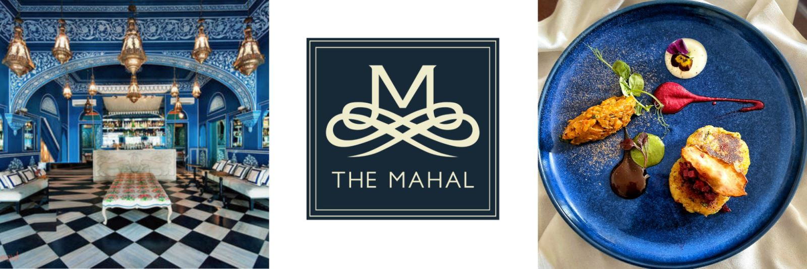 Selection of images - interior of Mahal, Mahal's logo and delicious food.
