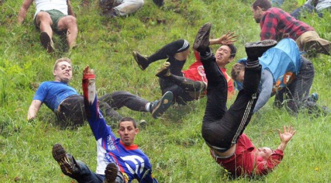 Cheese rolling at Cranham, Cooper's and the Beechwoods