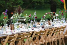 Dining in the gardens at Cowley Manor, Cheltenham