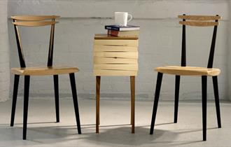 Beech Dining Chairs and Reveal Table by Troo Studio