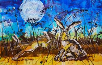 Hares at twilight
